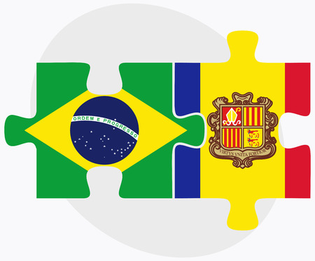 federative republic of brazil: Brazil and Andorra Flags in puzzle  isolated on white background Illustration