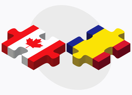 andorra: Canada and Andorra Flags in puzzle  isolated on white background