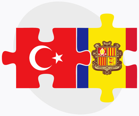 andorra: Turkey and Andorra Flags in puzzle  isolated on white background Illustration