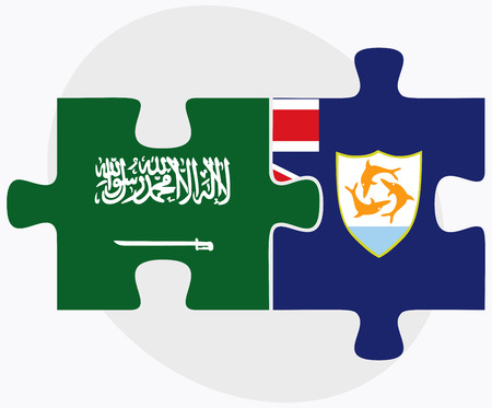 anguilla: Saudi Arabia and Anguilla Flags in puzzle isolated on white background
