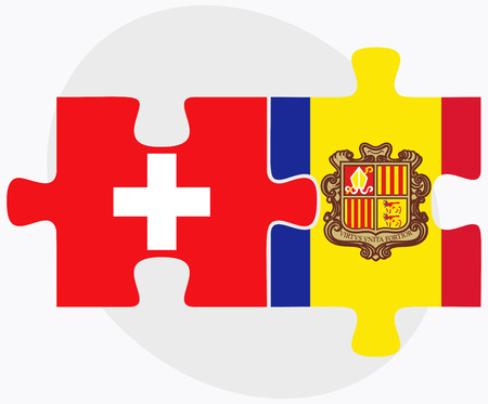 andorra: Switzerland and Andorra Flags in puzzle  isolated on white background