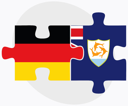 anguilla: Germany and Anguilla Flags in puzzle isolated on white background Illustration