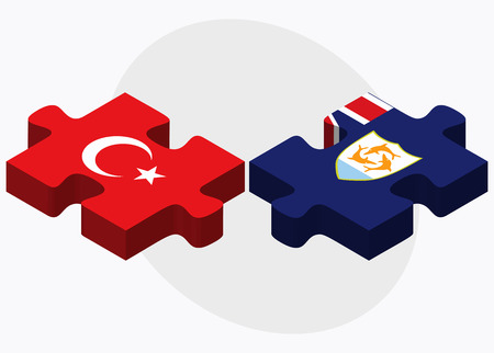 anguilla: Turkey and Anguilla Flags in puzzle isolated on white background Illustration