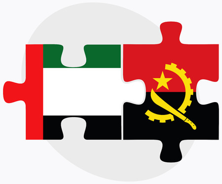 arab flags: United Arab Emirates and Angola Flags in puzzle  isolated on white background