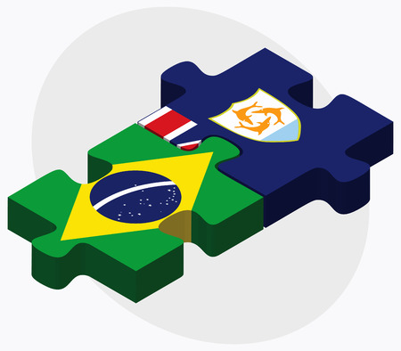 anguilla: Brazil and Anguilla Flags in puzzle isolated on white background