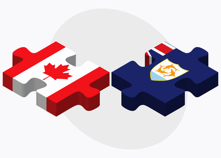 anguilla: Canada and Anguilla Flags in puzzle isolated on white background