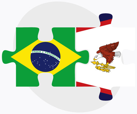 Brazil and American Samoa Flags in puzzle isolated on white background