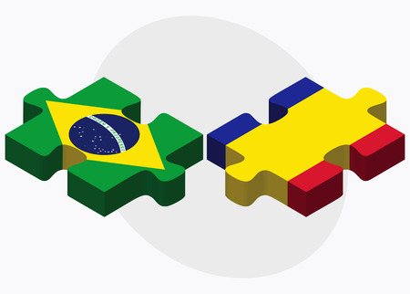 andorra: Brazil and Andorra Flags in puzzle  isolated on white background Illustration