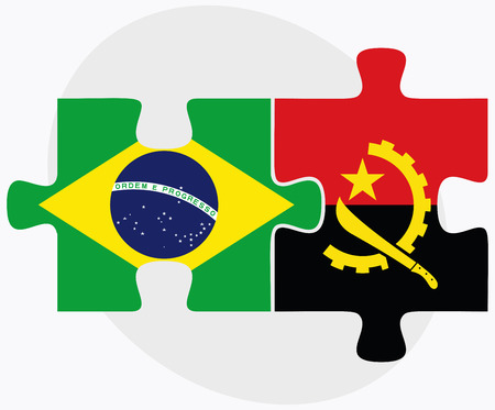 federative republic of brazil: Brazil and Angola Flags in puzzle  isolated on white background Illustration