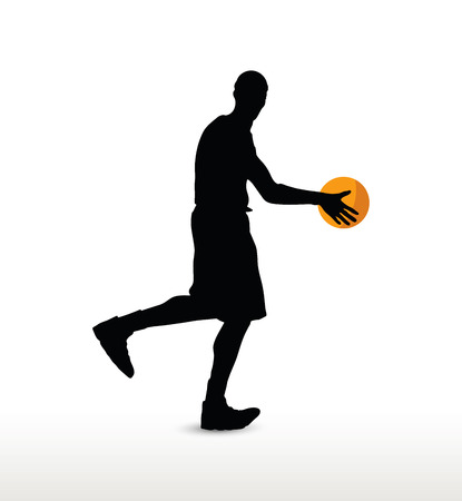 basketball player silhouette in dribble pose, isolated on white background
