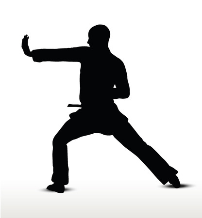 padded: karate silhouette, isolated on white background