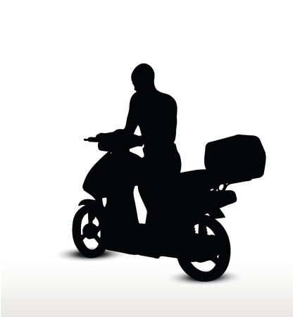 motorized bicycle: biker silhouette, isolated on white background