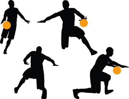 basketball player silhouettes in dribble pose, isolated on white background