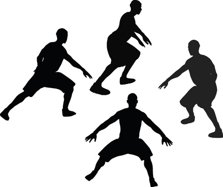 defense: basketball player silhouettes in defense pose, isolated on white background Illustration