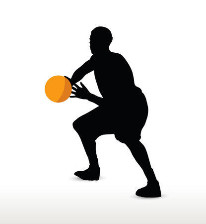 hold: basketball player silhouette in hold pose, isolated on white background