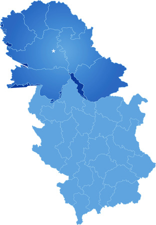 pulled out: Map of Serbia, Autonomous Province of Vojvodina is pulled out, isolated on white background