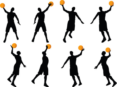 slam: basketball player silhouettes in slam pose, isolated on white background