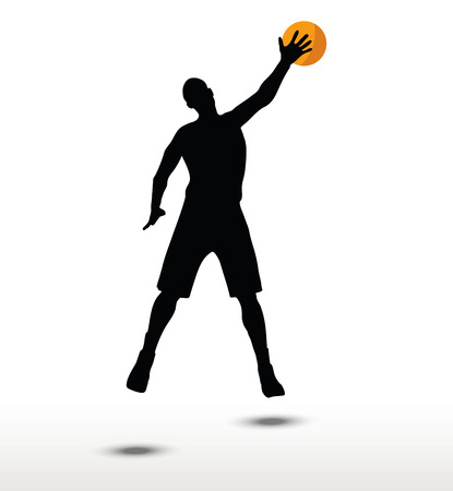 slam: basketball player silhouette in slam pose, isolated on white background