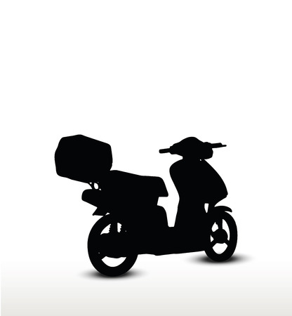 motorized bicycle: bike silhouette, isolated on white background
