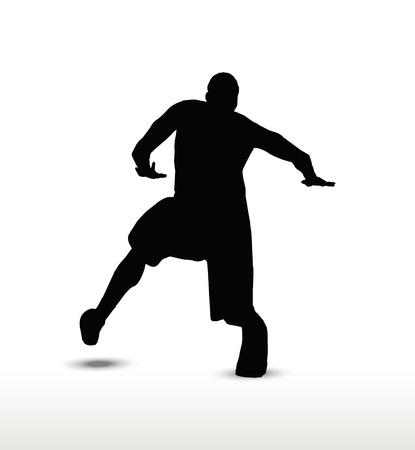 dribble: basketball player silhouette in dribble pose, isolated on white background