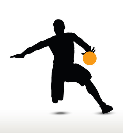 basket ball: basketball player silhouette in dribble pose, isolated on white background