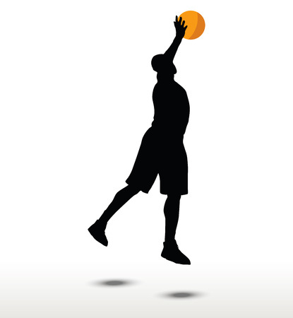 basketball player silhouette in slam pose, isolated on white background