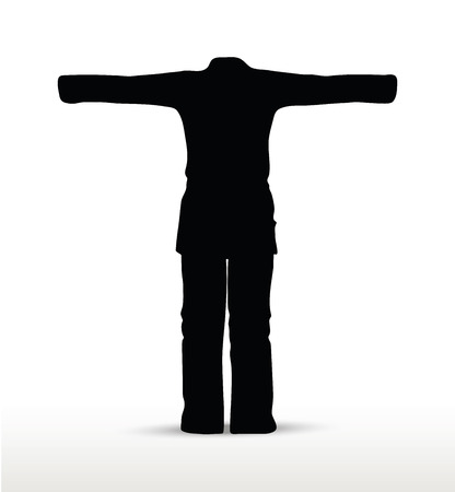 karate suit silhouette, isolated on white background