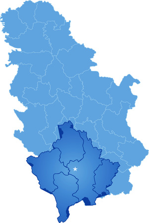 Map of Serbia, Autonomous Province of Kosovo and Metohija  is pulled out, isolated on white background