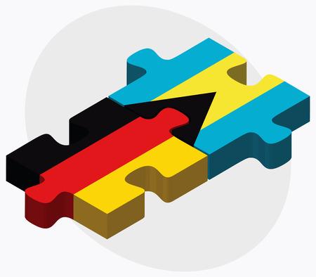 bahamas: Germany and Bahamas Flags in puzzle  isolated on white background