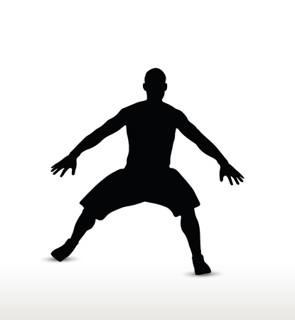 defense: basketball player silhouette in defense pose, isolated on white background