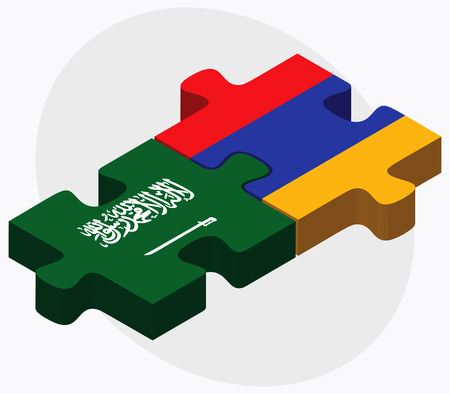 armenian: Saudi Arabia and Armenia Flags in puzzle  isolated on white background