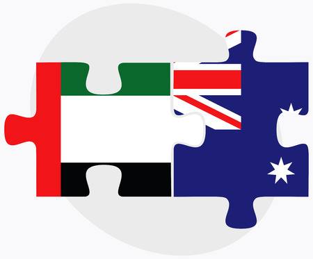 arab flags: United Arab Emirates and Australia Flags in puzzle  isolated on white background