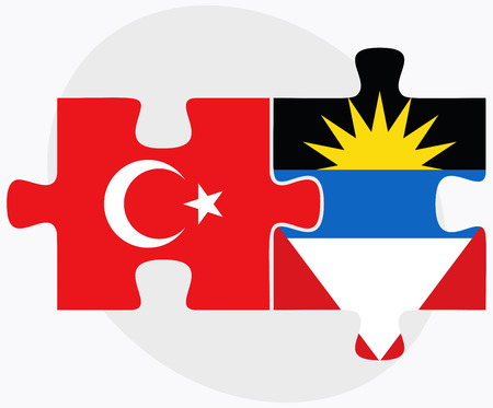 barbuda: Turkey and Antigua and Barbuda Flags in puzzle isolated on white background Illustration
