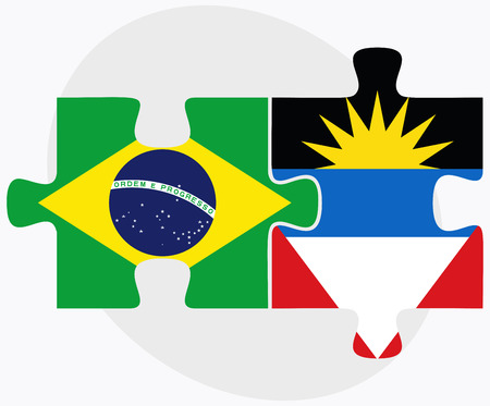 barbuda: Brazil and Antigua and Barbuda Flags in puzzle isolated on white background