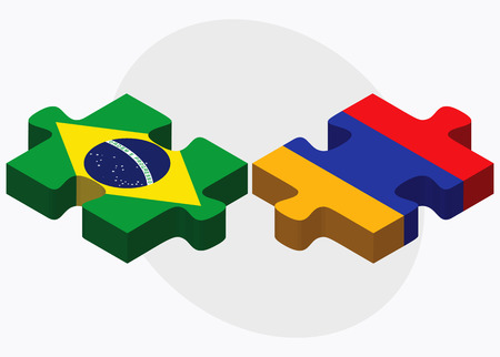 federative republic of brazil: Brazil and Armenia Flags in puzzle  isolated on white background