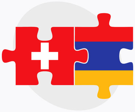 armenian: Switzerland and Armenia Flags in puzzle  isolated on white background
