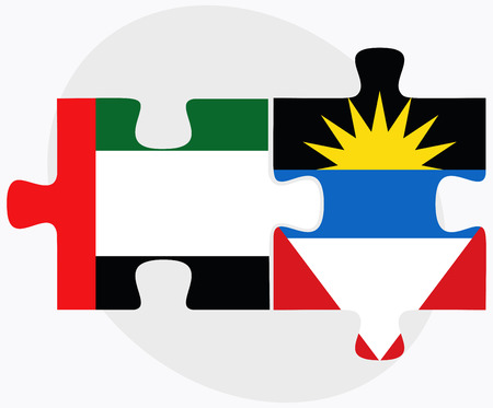 barbuda: United Arab Emirates and Antigua and Barbuda Flags in puzzle isolated on white background