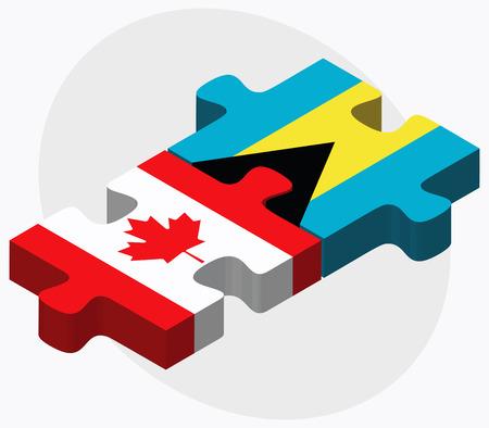 bahamas: Canada and Bahamas Flags in puzzle  isolated on white background Illustration