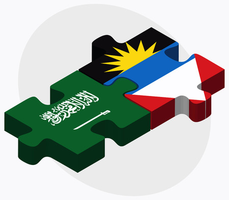 barbuda: Saudi Arabia and Antigua and Barbuda Flags in puzzle isolated on white background Illustration