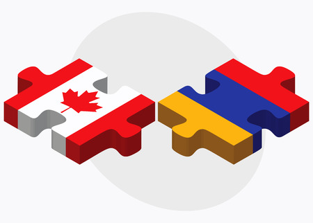 armenian: Canada and Armenia Flags in puzzle  isolated on white background