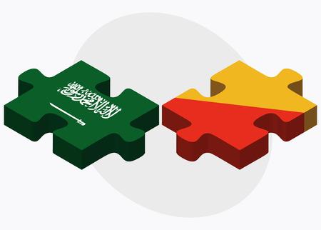 bhutan: Saudi Arabia and Bhutan Flags in puzzle  isolated on white background Stock Illustratie