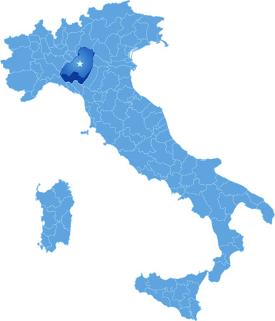 Map of Italy where Parma province is pulled out, isolated on white background