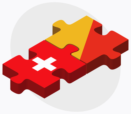 bhutan: Switzerland and Bhutan Flags in puzzle  isolated on white background