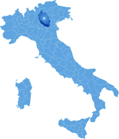 pulled out: Map of Italy where Verona province is pulled out, isolated on white background
