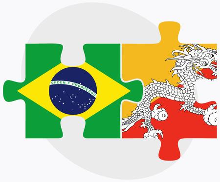 bhutan: Brazilië en Bhutan Vlaggen in puzzel geïsoleerd op een witte achtergrond