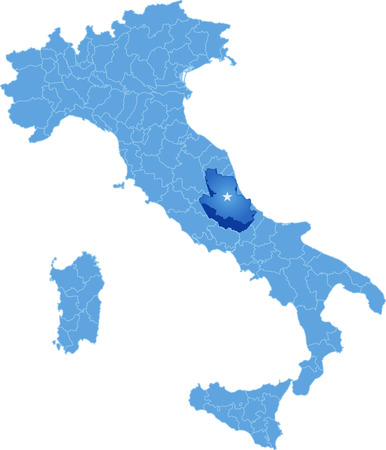 pulled out: Map of Italy where LAquila province is pulled out, isolated on white background Illustration