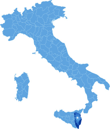 subdivision: Map of Italy where Siracusa province is pulled out, isolated on white background