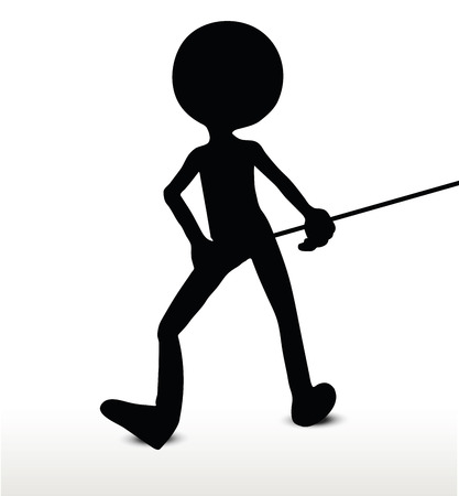 3d man silhouette, isolated on white background, Pull It Illustration