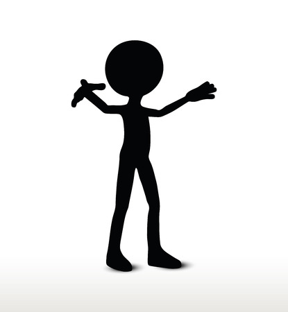 towards: vector image - 3d man silhouette, isolated on white background, walk towards Illustration