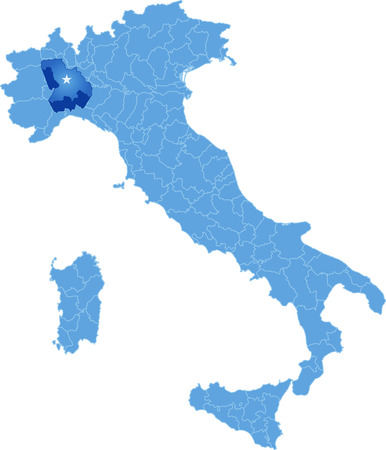 subdivisions: Map of Italy where Alessandria province is pulled out, isolated on white background
